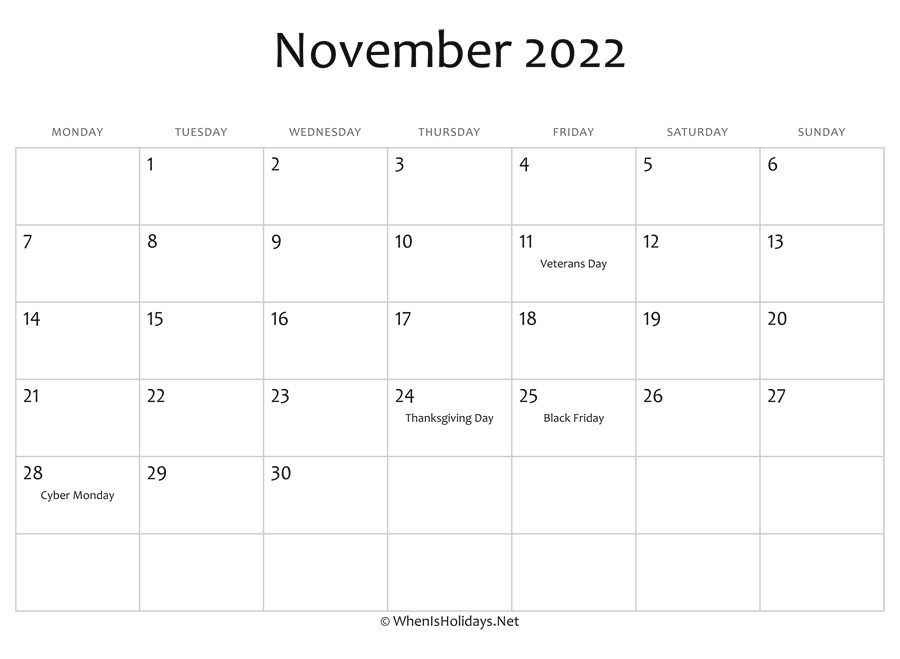 photo relating to 2022 Calendar Printable named November 2022 Calendar Printable with Holiday seasons